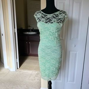 Donna Mizani green lace dress